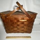 Vintage Split Oak Picnic Basket with Hinged Lid