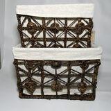 Pair of Nesting Lined Rectangular Baskets