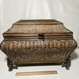 Decorative Wooden & Footed Box with Woven Exterior