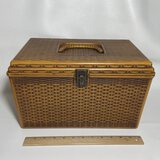 Vintage Plastic Basket Design Sewing Box FULL of Misc Sewing Notions