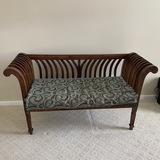 Beautifully Carved Wooden Bench with Rolled Arms, Cushion & Large Pillows