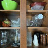 Very Nice Lot of Kitchen Ware - Ceramic Pumpkin, Salt & Pepper Shakers, Misc Glassware