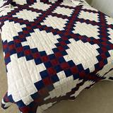 Very Heavy Hand Made Red, White & Blue Quilt