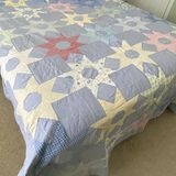 Pretty Blue, Yellow, Red & Multicolored Hand Made Quilt