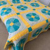Gorgeous Turquoise & Yellow Hand Made Quilt