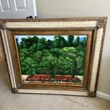 Large Floral Signed Painting in Gilt Frame