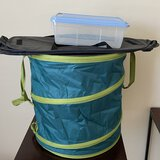 Folding Laundry Hamper, Organizer & Plastic Lidded Bin