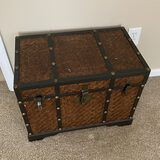 Wooden Chest with Woven Exterior