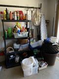 Shelf Full of Misc Yard Chemicals, Yard Tools & More