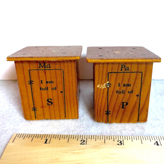 """Vintage Wooden """"Ma & Pa"""" Salt and Pepper Shakers"""