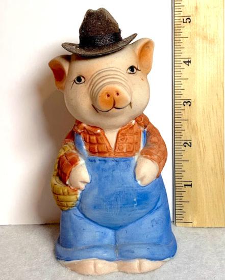 Adorable Porcelain Pig in Overalls Piggy Bank