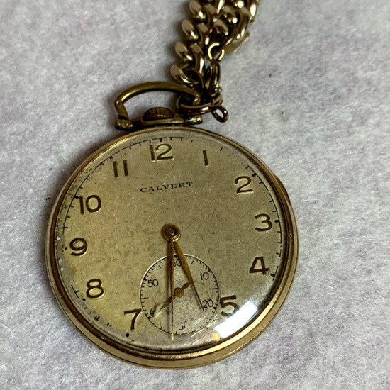 Vintage Calvert 10 K Rolled Gold Plate Pocket Watch with Chain