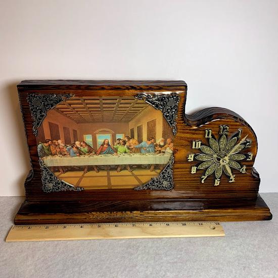Vintage Wooden Last Supper Clock