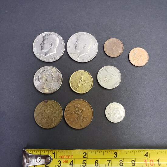 Lot of Coins and Tokens, 2 Kennedy Half Dollars, 1 Susan B Anthony, Misc. Foreign Coins and Tokens