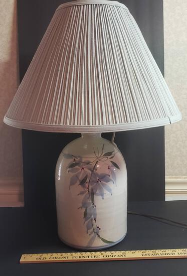 Vintage Painted Pottery Jug Lamp