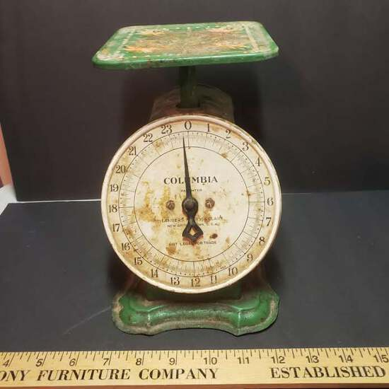 Vintage Metal Columbia Scale, Green Painted with Flowers