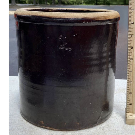 """2 Gallon Antique Pottery Crock with """"2"""" on Side & Handwritten Place of Origin Note on Bottom"""
