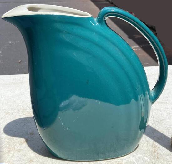 """Pretty Vintage Turquoise 8"""" Hall Pottery Pitcher"""