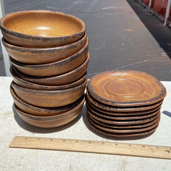 Lot of 8 Vintage McCoy Bowls & 8 Saucers