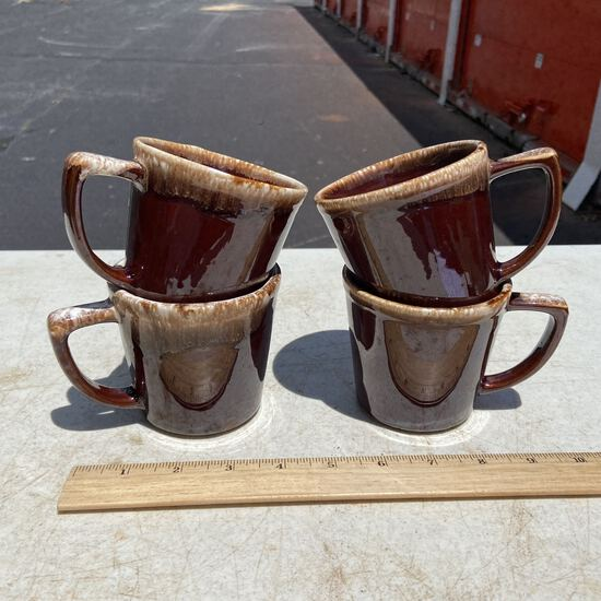 Lot of 4 McCoy Brown Drip Vintage Mugs