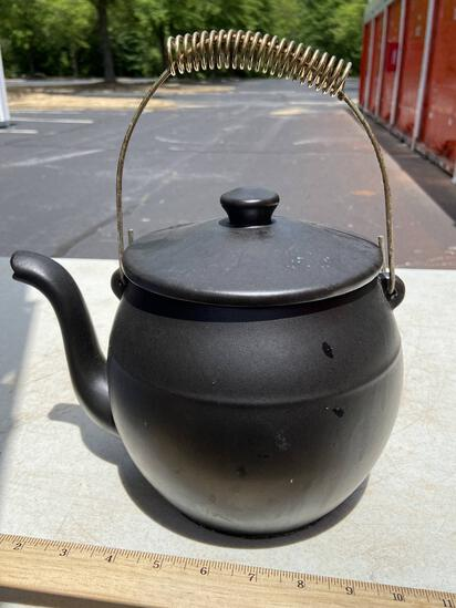 McCoy Pottery Matte Black Teapot Kookie Kettle with Handle Signed on Bottom