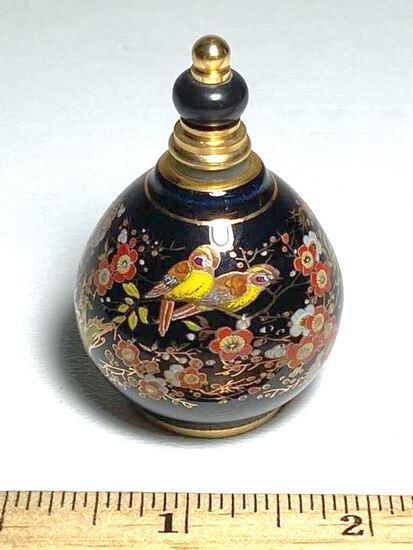 Black Enamel Venus Perfume Bottle with Bird & Floral Design Made in Greece