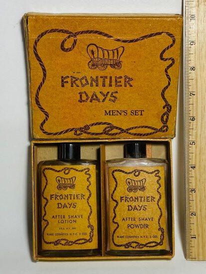 "Vintage ""Frontier Days"" Men's Set Of After Shave Lotion & After Shave Powder in Original Box"