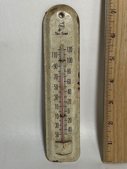 Small Vintage Tru-Temp Metal Thermometer Made in USA