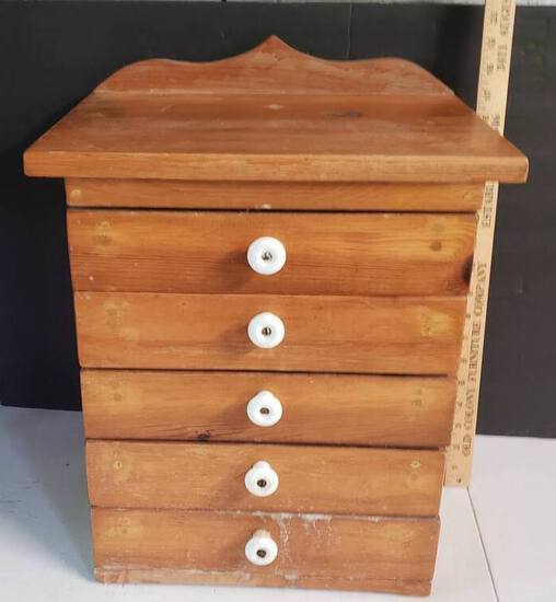 Vintage Wood Cabinet, 5 Small Drawers, Porcelain Knobs