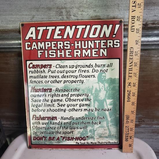 "Vintage Heavy Metal Sign ""Campers - Hunters - Fishermen"""