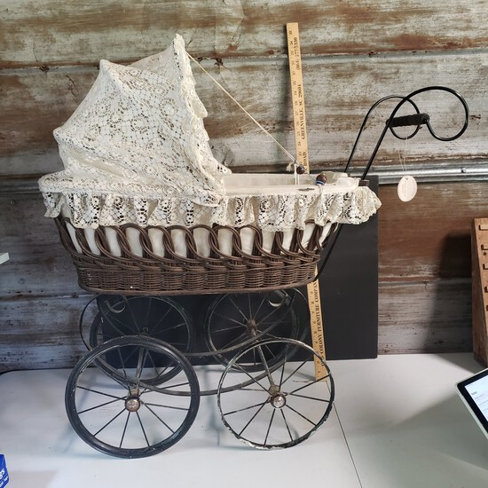Wicker Doll Carriage Made In West Germany