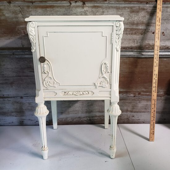 Vintage Wood Side Table with One Door Painted Off White