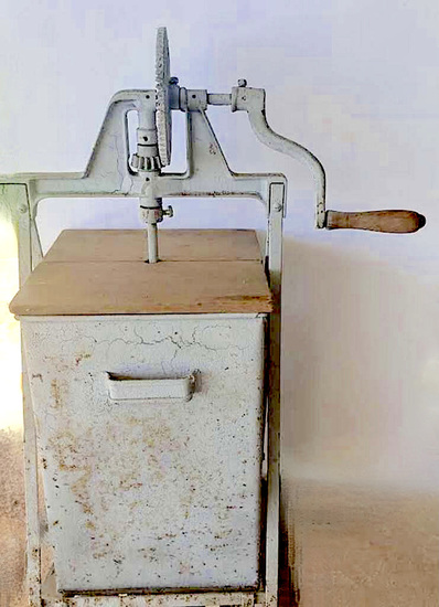 Antique Butter Churn In Metal Box on Stand