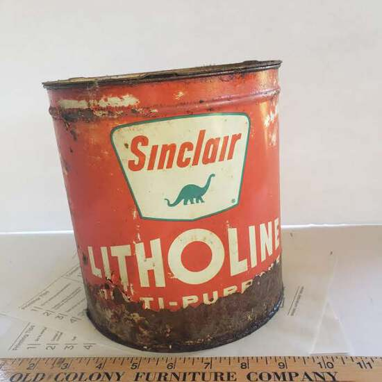 Sinclair Litholine Multi Purpose 10 Lbs. Oil Can With Dinosaur