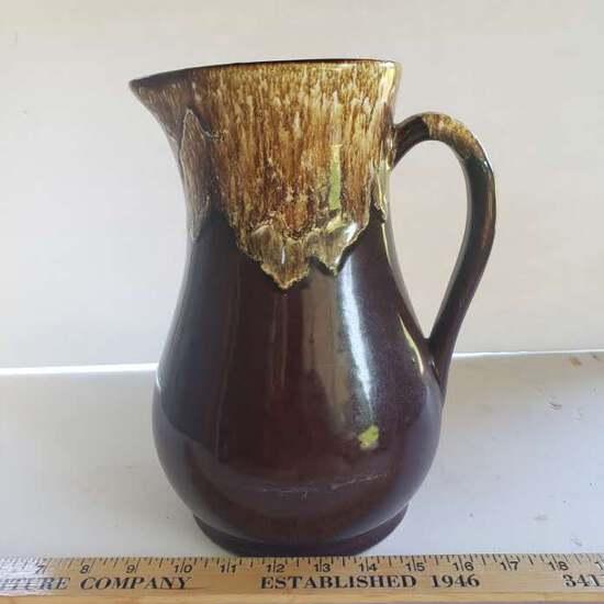 Vintage Roseville Pottery Brown Drip Glaze Pitcher