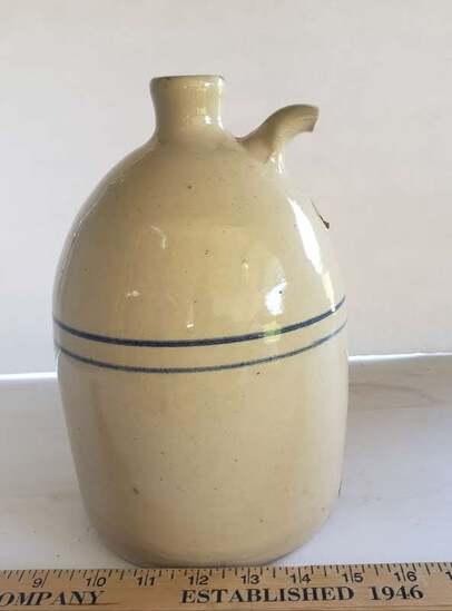 Paul Storie Pottery Co, Marshall Tx Glazed Double Line Whiskey Jug, 1 Gallon