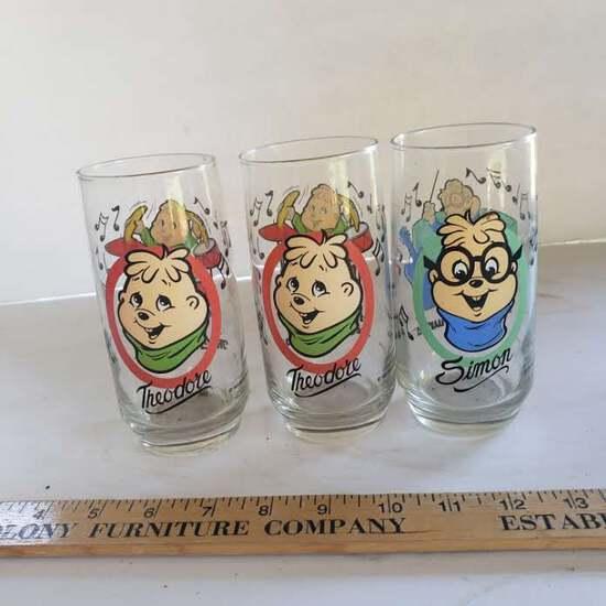 Lot of 3 Vintage Chipmunks Drinking Glasses