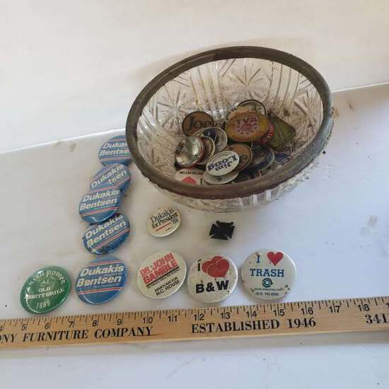 Vintage Glass Bowl Filled with Assorted Buttons, Campaign and Other