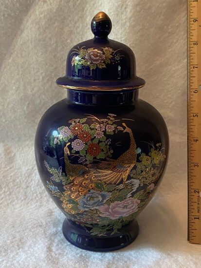 Pretty Ginger Jar with Peacock Floral Design Made in Japan