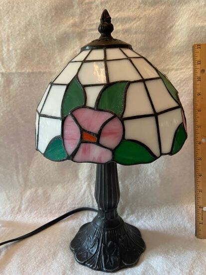 Small Lamp with Stained Glass Shade with Bronze Tone Metal Base
