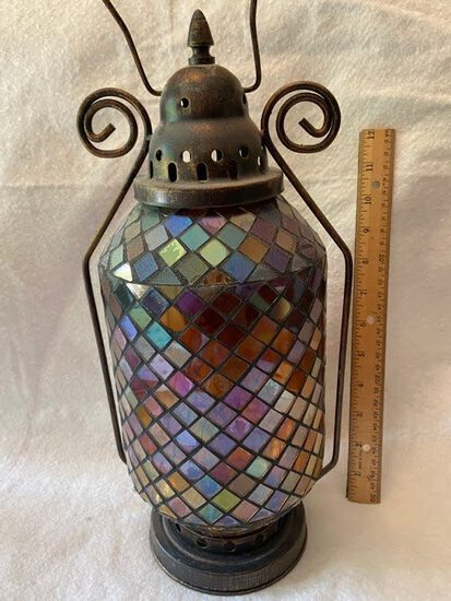 Tall Candle Lantern with Mosaic Glass Exterior