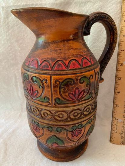 Pottery Pitcher with Ornate Design Made in Japan