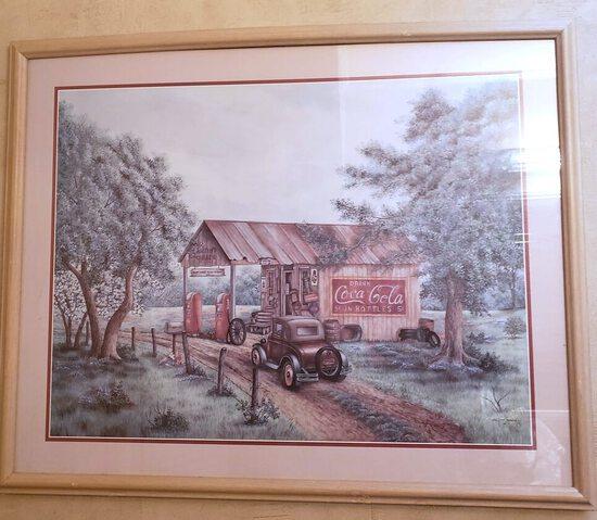 "Coca Cola Framed Advertisement Print ""Martin's Garage"" in Frame"