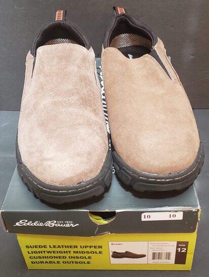 NIB Men's Eddie Bauer Suede Brown Newport Style Slip on Shoes