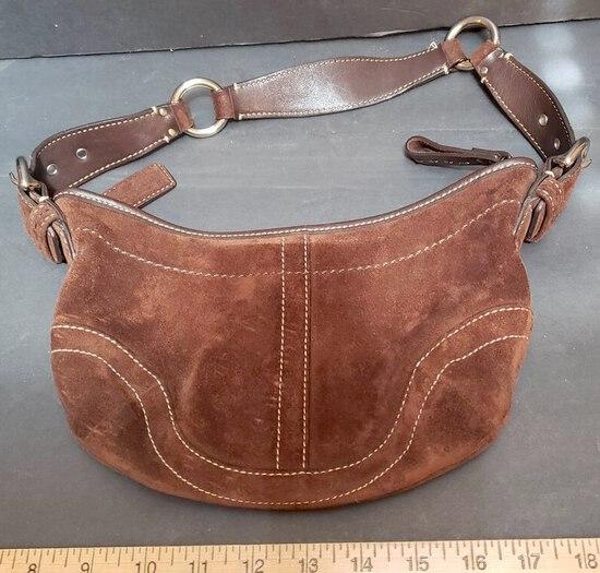 Ladies Brown Suede Small Handbag