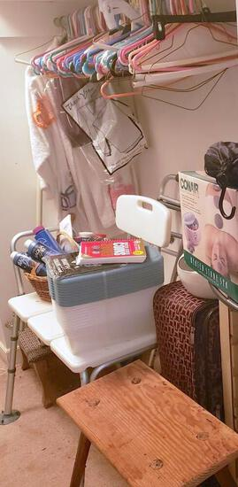 Right Side Contents of Walk In Closet, Luggage, Bags, Spa Chemicals and More