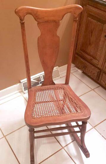 Vintage Caned Seat Wooden Rocking Chair