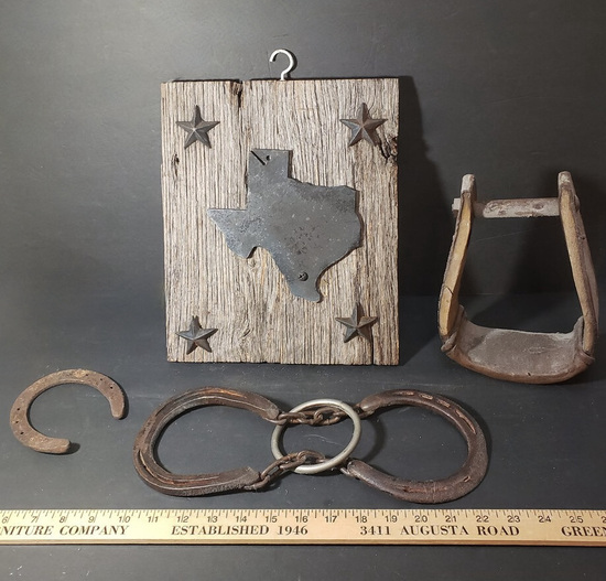 Lot of Rustic Décor - Texas Wall Hanging, Horse Shoe, Wooden Stirrup