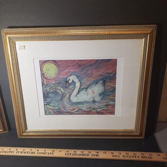Signed, Numbered and Framed Batik Swan Art