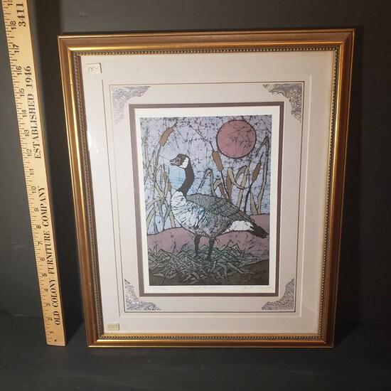 """Signed, Numbered and Framed Batik Goose Art Print,""""Nest Builder"""""""